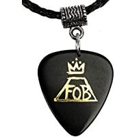 Fall Out Boy Gold Logo Necklace Guitar Plectrum Black Pick