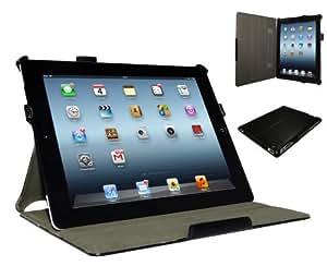Adento iPad 4 Hülle & iPad 3 Hülle in Schwarz - Smart Cover mit verstellbarem Aufsteller, Handschlaufe & Stylus-Halterung