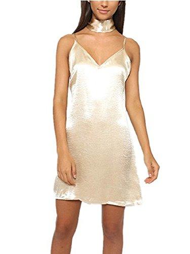 BOMOVO Damen V-Ausschnitt Sommerkleider Solide Ohne Arm Neckholder Kurz Kleid Beige
