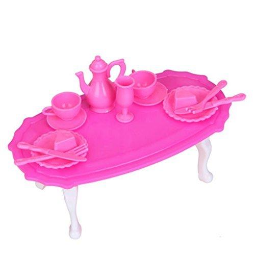 Bambole in miniatura tavolo da pranzo sala da pranzo mobili set per piccolo Doll–rosa shocking e bianco