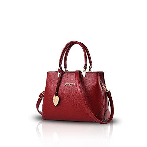 NICOLE&DORIS Handtaschen für Damen Handtaschen für Frauen Damen Henkeltaschen Taschen für Damen Schultertasche Weinrot -