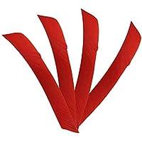 ZSHJG 50 pcs Plumas de Flecha Longitud Total Plumas de Flecha 7-10 Pulgadas Natural Fletches Envoltura de Espiral Turquía Fletching ala Izquierda para Bricolaje Flechas (Rojo)