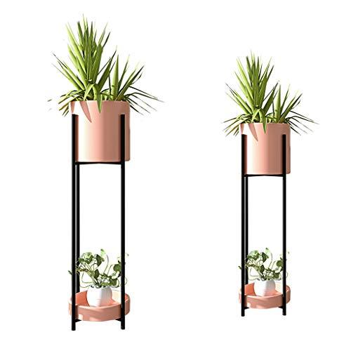 Nordic Flower Stand Eisen Metall Pflanze Boden Blumentopf für Wohnzimmer Schlafzimmer Büro Garten Balkon Dekorative Regal (2er-Set Pink) verfahrbare Gestell