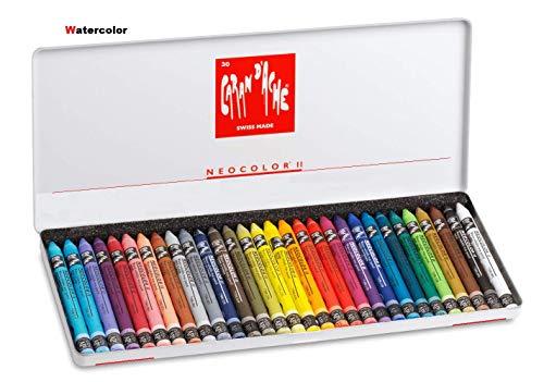 Caran d'Ache Neocolor II,set 30 pcs Juego de ceras de color multicolor, lápices de Watercolor