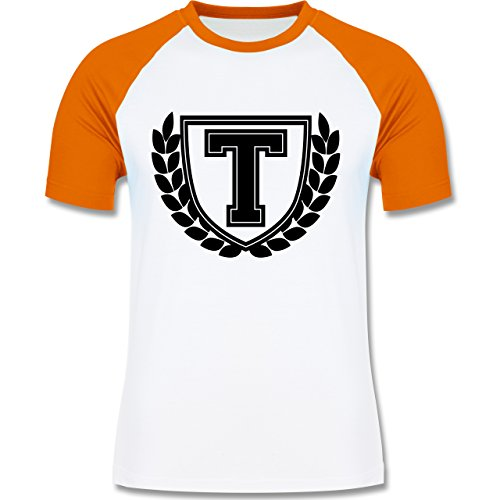 Anfangsbuchstaben - T Collegestyle - zweifarbiges Baseballshirt für Männer Weiß/Orange