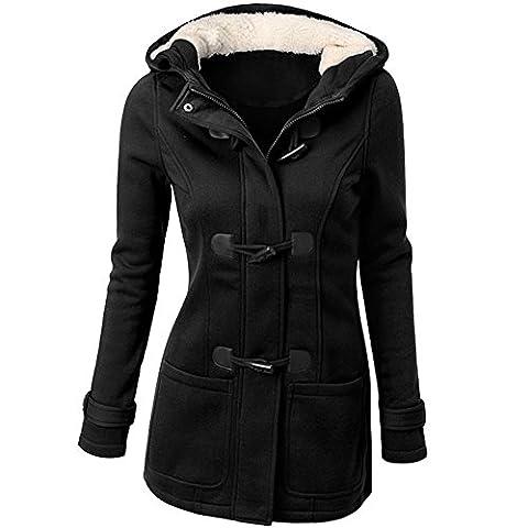 Damen Herbst Frühling Lang Mantel Jacke Oberteil Outwear Langarm Knopf Übergangsparka Mit Kapuze Schwarz
