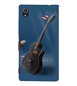 Fuson Premium Back Case Cover Blacky guitar in Water With Brown Background Degined For Sony Xperia M4 Aqua::Sony Xperia M4 Aqua Dual