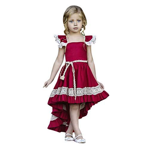 UFODB Mädchen Prinzessin Kleider Für Hochzeit, Baby ärmellos Rückenfrei Off Shoulder Spitze Irregular Prom Ballkleid Formale Partei Lang Brautjungfernkleider Wedding Dress