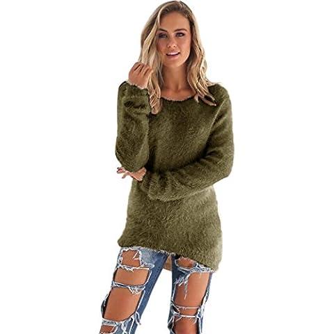 Vestido de invierno mujer sweather, RETUROM moda para mujer Casual sólido largo puente suéteres blusa