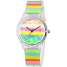 Montre Enfant Garcon Fille Pedagogique Zeiger Mouvement Quartz Analogique Caoutchouc Bracelet Multicolor (Multicolore)