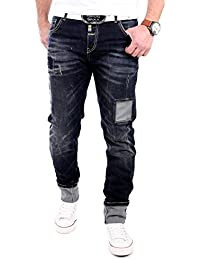 Cipo & Baxx Herren Jeans Patched Regular Fit Jeanshose CD-201 Dunkelblau