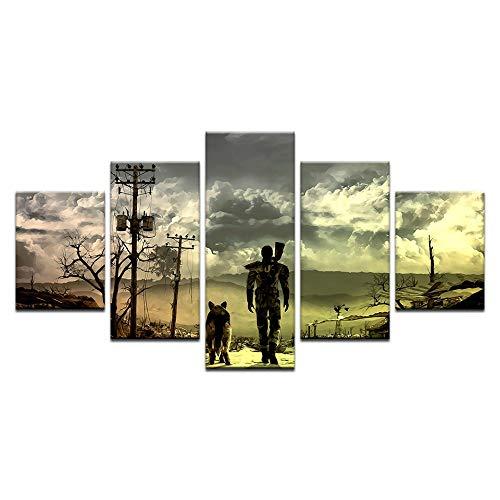 xkkzka Ohne Rahmen Fallout 4 Mann Und EIN Hund Spiel Poster Leinwand Malerei Modulare 5 Stücke Stoff Stoff Drucken Für Wohnkultur Wandkunst Abstrakte Bild-A -