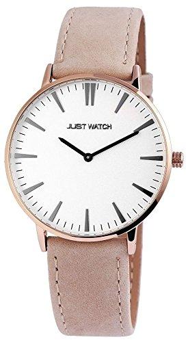 Just Watch Unisexuhr mit Echtlederarmband Dornschließe Quarz Rund 3 Bar Armbandlänge 20cm (Beige/Roségoldfarbig)