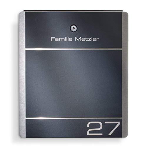 Metzler-Trade Briefkasten Edelstahl Anthrazit - 38,5 x 33 cm groß - mit Gravur Beschriftung Hausnummer & Name - RAL 7016 - zur Wand-Montage (ohne Zeitungsfach)