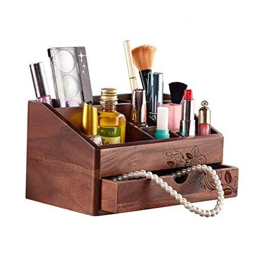 AYHa Make-up Organizer Retro Holz Arbeitsplatte, Schubladen und Lagerung, Schminktisch Kosmetik Lippenstift Schmuck Cosmetic Organizer Box,B -
