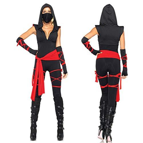 Halloween Samurai Kostüm - XUDSJ Halloween,Lack Kleid,hexenkostüm, Halloween Gruselkostüm Sexy Samurai Kostüm for Erwachsene Halloween Maskerade Kostüm Party Dekoration (Color : Black, Size : M)
