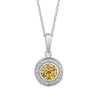 Weißgold Anhänger mit Rundschliff Diamanten (gelb)