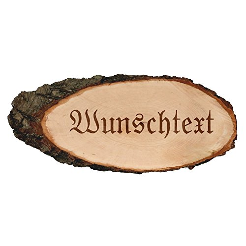 Gravierte ovale Rindenbretter Holzbrett Baumscheibe Türschild, Brettgröße:ca. 40 cm lang, Motiv:Wunschtext