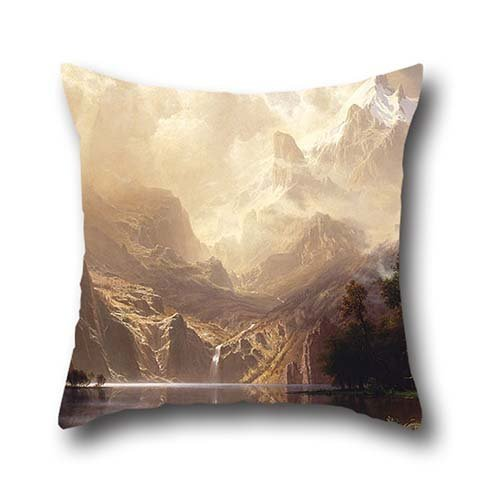 Oil Painting Albert Bierstadt - Among The Sierra Nevada, California Pillowcover 16 X 16 Inches / 40 By 40 Cm Best Choice For Birthday,indoor,saloon,bench,lover,gril Friend With Twin Sides (Sierra Oil)