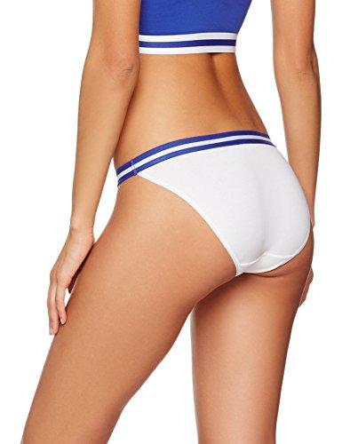 Iris & Lilly Damen Bikini Slip Sporty Cotton 2er Pack Weiß (White/Blue)