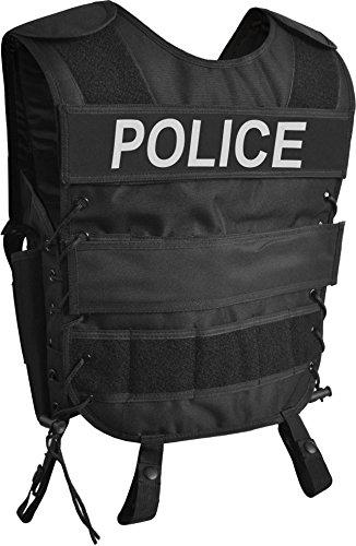normani Taktische SWAT Weste mit Pistolenholster und abnehmbarem Schriftzug auf dem Rücken Farbe Police Größe M/L