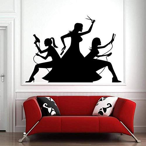 Haarschnitt weht dauerwelle vinyl wandaufkleber mode pose aufkleber friseursalon selbstklebende folie für möbel tapete kunstwand 42x59 cm