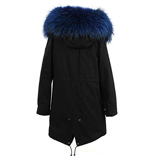 Damen PARKA XXL Kragen aus 100% ECHTPELZ ECHT FELL Jacke Mantel Schwarz 6 Farben Blau