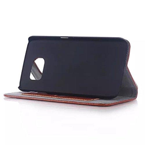 Samsung Galaxy S6 Edge Case,magnetische Folio Flip Stand Bei Kartenschlitz Einfarbig Fall Hardcover Für Samsung S6 Rand ( Color : Rose , Size : Samsung S6 Edge ) Brown