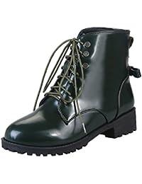 YE Damen Lack Ankle Boots Flache Schnürstiefeletten mit Schnürung und  Schleife Modern Bequem Schuhe d1341dd074