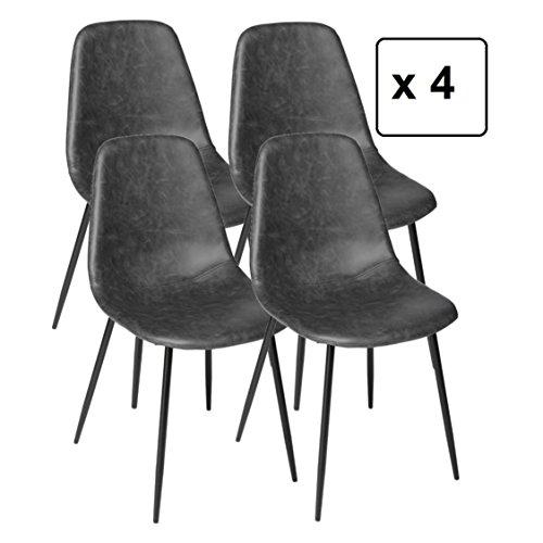 DEPOTMANIA Lote de 4 sillas – Estilo Industrial y Vintage – Aspecto Envejecido (Gris)