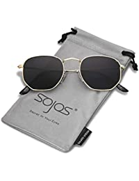 244228a6c6 SojoS Small Classic Square Polygon Sunglasses for Men and Women Mirrored Lens  Glasses SJ1072