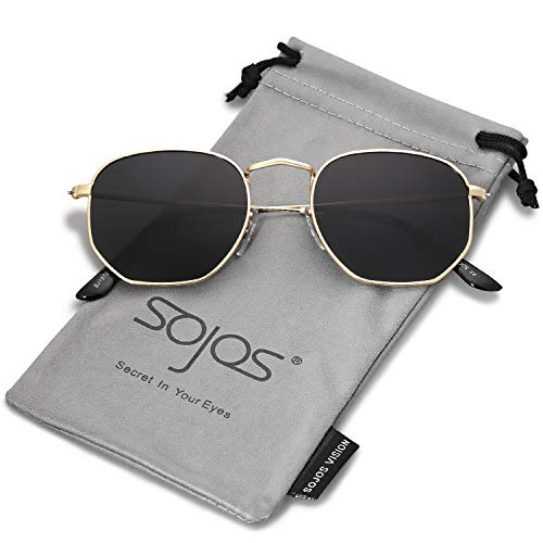 SOJOS Mode Polygon Sonnenbrille Damen Herren Verspiegelte Polarisiert Linse Leichte Unisex Brille SJ1072 mit Gold Rahmen/Grau Linse