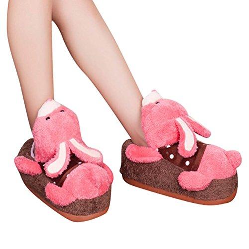 YOUJIA Adulte Chaussons animaux Peluche Hiver Chaud Pantoufle Chaussure d'intérieur - Homme et Femme - Taille: 34-38 Lapin