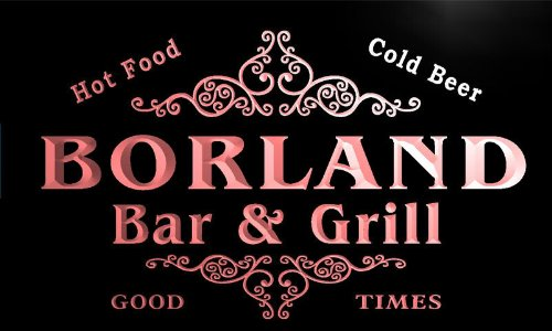 u04697-r BORLAND Family Name Bar & Grill Cold Beer Neon Light Sign Barlicht Neonlicht Lichtwerbung