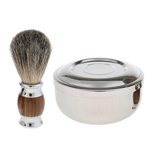 MagiDeal Professionnel Blaireau de Rasage Poils de Blaireau + Bol à Savon à Barbe en Acier Inox avec Couvercle - Kit de Rasage pour Homem Barbier
