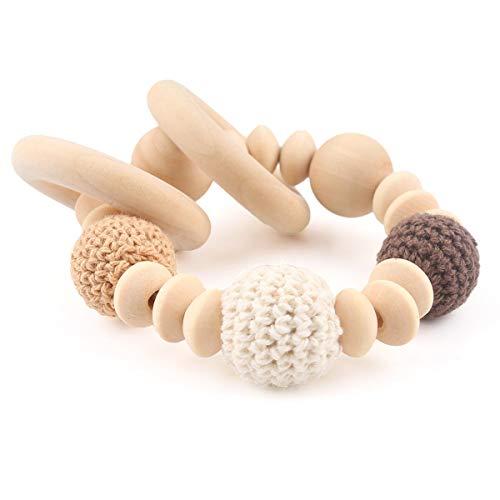 baby tete Anneau de Dentition en Bois Mâcher Des Perles Anneau de Dentition pour Bébé Perles au Crochet Naturelles de 20mm Bracelet D'allaitement Jouets Montessori