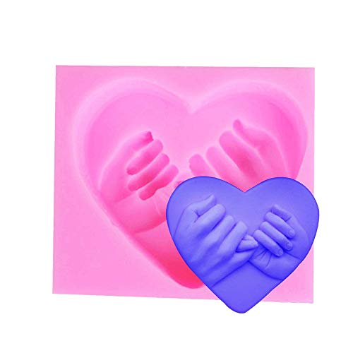 3D-Form für Seife, Schokolade oder Kerzen, Motiv: Herz mit Händen, 1 Stück (3d-herz-silikon-schokoladen-form)