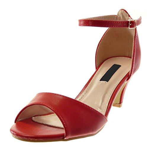 Angkorly - Scarpe Moda Sandali Decollete con Tacco con Cinturino alla Caviglia Elegante Donna Tanga Tacco a Cono Alto 6.5 CM - Rosso B7911 T 38