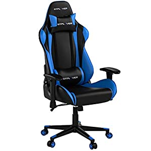GTPLAYER Gaming Stuhl Bürostuhl Gamer Ergonomischer Stuhl Einstellbare Armlehne Einteiliger Stahlrahmen Einstellbarer Neigungswinkel Blau