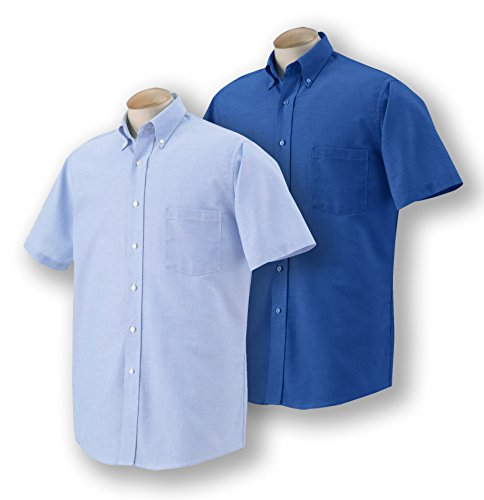 Mens Short Sleeve Oxford Shirt (Van Heusen Men's Short-Sleeve Oxford Dress Shirt, 1 English Blue + 1 Oxford Blue, X-Large)