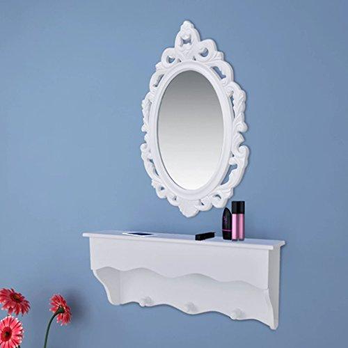 weilandeal Wand-Schrank-Set für Schlüssel und Schmuck mit Spiegel und Haken Material: MDF + Glas Aufbewahrungsmöglichkeit