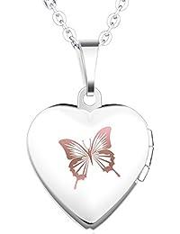 Unendlich U Fashion Schmetterling Eingraviert Öffenbares Herz Foto Medaillon Edelstahl Damen Damen Mädchen Frauen Anhänger Halskette, Rosa/Blau