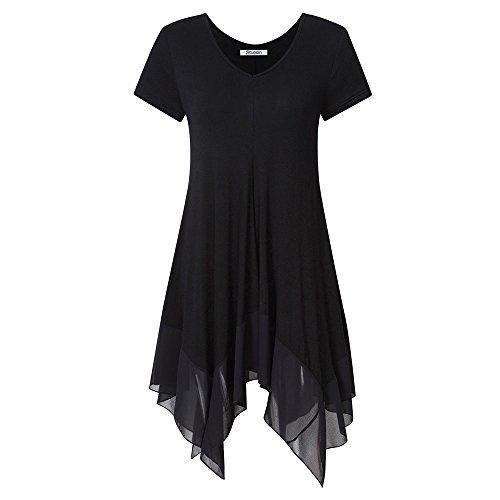 KoJooin Damen Plus Size Asymmetrische Lässige Longshirt Chiffon Bluse Oversize T Shirt Casual Tunika Top Schwarz Kurzarm 3XL