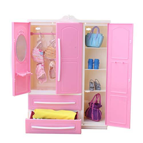 WINBST Mini Puppenschrank Puppenkleiderschrank Puppenzubehör Kleiderschrank