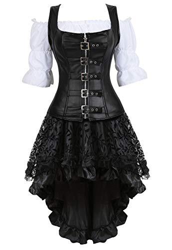 Grebrafan Steampunk Leder Reißverschluss Corsage Kostüm mit asymmetrischer Spitzenrock und Bluse - für Karneval Fasching Halloween (EUR(42-44) 3XL, Schwarz)