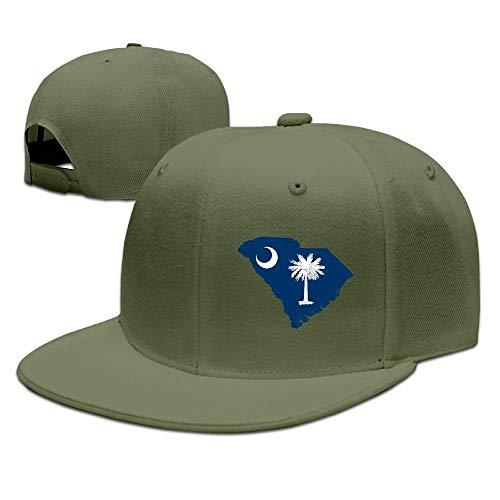 Confederate Flag Design (Map of South Carolina Flag Design Solid Flat Bill Hip Hop Snapback Baseball Cap Unisex Sunbonnet Hat.)