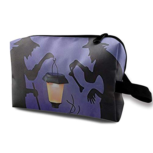 olar Lighted Lantern Halloween Silhouette Portable Travel Makeup Cosmetic Bags Organizer Multifunction Case Toiletry Bags ()