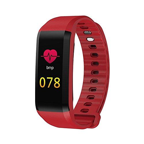 Lemumu Schickes Armband Herzfrequenzmesser Schrittzähler Übung Anruf aufzeichnen Erinnerung Blutdruckmessung Schrittzähler schlafen Tracker finden Sie meine, Rot