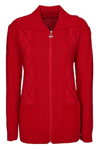Womens Zipped Cable Knit Long Sleeve Zip Through Fasten Jumper Top Ladies Classic Knitwear Zipper Cardigan Pullover Plus Size 10 12 14 16 18 20 22 24 (10-12, Red)