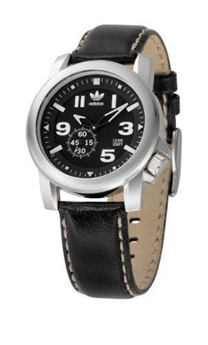 adidas adh1183acero inoxidable unisex correa de piel reloj analógico